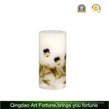 Handgemachte Blumen-Dekor-Entwurfs-Säulen-Kerze
