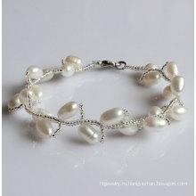 Мода белый природный пресноводный жемчуг браслет (EB1515-1)