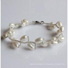 Bracelet en perles d'eau douce naturelle à la mode (EB1515-1)