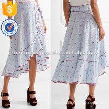Nova Moda Ruffled Floral-impressão De Seda-georgette Verão Saia Diária DEM / DOM Fabricação Atacado Moda Feminina Vestuário (TA5110S)