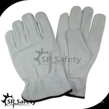 SRSAFETY leather white gloves cow leatehr working gloves