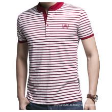 Logo personnalisé de broderie Fashion Stripe gros T-shirt en coton polo