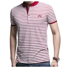 Custom Embroidery Logo Fashion Stripe Wholesale Cotton Polo T Shirt
