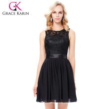 Vestido de partido sin mangas del cortocircuito del vestido de coctel del cordón del negro de la bola de la gasa de Karin de la tolerancia 7 Tamaño los EEUU 4 ~ 16 GK000119-1