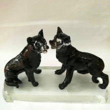 Fashionable crystal animal figurines antique glass animal figurines decoration dog glass crafts