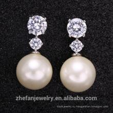 Горячая распродажа CZ камень и белый жемчуг серьги с высокое качество