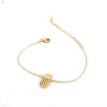 Cadeia de liga de jóias bonito frutas ouro charme pulseira de abacaxi