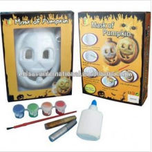 Masque de citrouille d'Halloween, peinture bricolage masque à la main, masque de peinture à l'aquarelle