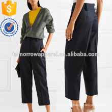 Pinstriped Wool-twill Straight-leg Pants Manufacture Wholesale Fashion Women Apparel (TA3026P)