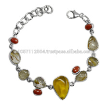 Rutilated Quartz Amber Coral Gemstone & 925 Sterling Silver Designer Party Wear Bracelet