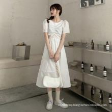 Summer Trend Back Hollow Bow Skirt Waist Solid Color Dress