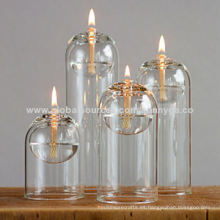 Lámpara de aceite de vidrio de borosilicato de diseño único con diferentes tamaños de serie