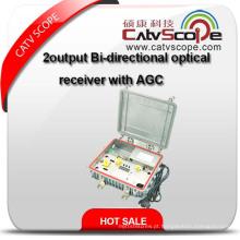 Receptor óptico bidirecional de saída bidirecional com AGC