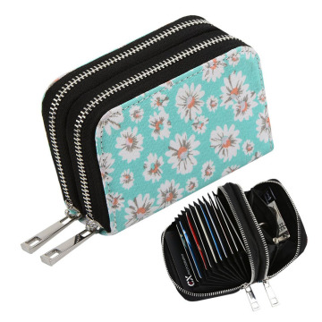 Mini Canvas Zipper Security Credit Card Wallet