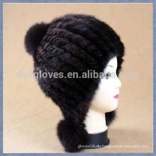Mode Dame Strick Mink Pelz Caps und Hüte Mit Bällen
