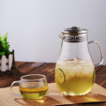 Large glass juice jug with lid