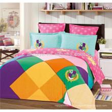 100% algodón Reactive Printed Reina tamaño satinado conjunto de ropa de cama conjunto de sábanas