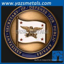 personalize moedas de metal, secretária assistente personalizada de alta qualidade da moeda militar de defesa
