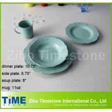 Juego de vajilla de cerámica con relieve en color