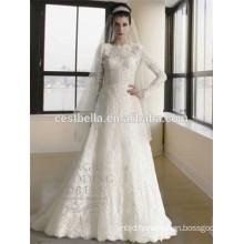 Long Sleeve muslim bridal wedding dress Abaya muslim hijab wedding dress
