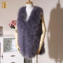 Veste de fourrure en fourrure de luxe en mousseline de soie sans manches