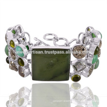 Beautiful Chrysoprase And Multi Gemstone 925 Sterling Silver Bracelet