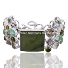 Красивый Хризопраз И Мульти Драгоценных Камней 925 Серебряный Браслет