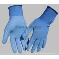 NMSAFETY EN388 4131 13g bleu en nylon enduit à base d'eau bleue à base de gants de travail PU