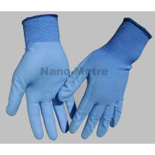 NMSAFETY EN388 4131 13g palma de nylon azul revestido de água azul com base PU luvas de trabalho