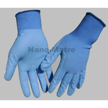 NMSAFETY EN388 4131 13g blue nylon palm coated blue water based PU working gloves