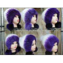 Moda Señora Mink Fur Caps Con Bolas