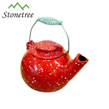Hot Sale Large Red Coated Cast Iron Enamel WhistlingTea Kettle
