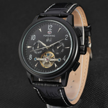 Leather band mens automatic mechanical date watch
