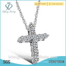 New year gift top sale chain platinum plated cross necklace platinum and diamond necklace