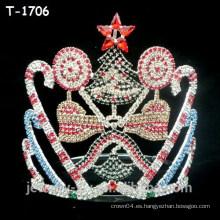 Venta al por mayor cristal coloreado todo el conjunto de Navidad coronas de desfile