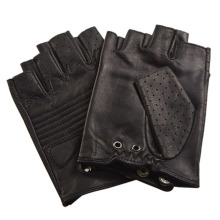 Men′s Fashion Black Fingerless Leather Driving Sports Gloves (YKY5203)