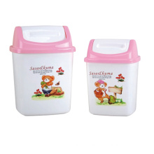 Pink Top Plastic Flip-on Garbage Bin (A11-5009)