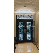 Железная стеклянная дверь с работающим окном