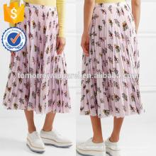 Nova Moda Impresso Plisse Crepe De Chine Midi Saia Lápis DEM / DOM Fabricação Atacado Moda Feminina Vestuário (TA5127S)