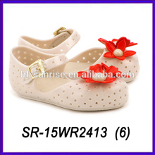 beige color plastic sandals with flowers pvc jelly shoes plastic sandals