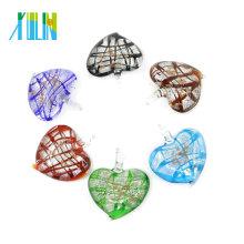 Colgantes de cristal del corazón de la hoja de plata de Murano para la joyería 12pcs / box, MC0025