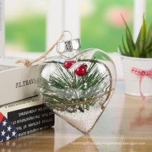 Artdragon 2020 custom wholesale DIY clear baubles christmas transparent borosilicate glass heart shape ornaments