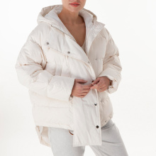 White hooded medium down jacket