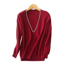 Pullover mit tiefem V-Ausschnitt für Frauen mit weißem Ausschnitt lose Kaschmirpullover Pullover