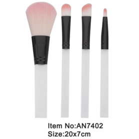 4 pcs portable white plastic handle animal/nylon hair makeup brush tool set