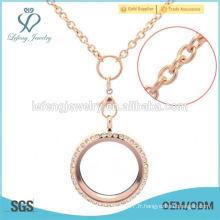 Bon marché nouvelle acier inoxydable rose or flottant locket chain design girls