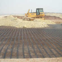 Unidirectional stretch plastic geogrid reinforced asphalt