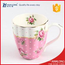 Симпатичная кружка для кружек для авиалиний / светло-розовая королевская кружка кофе / тонкий костяной фарфор большая элегантная кружка