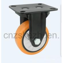 Mh1 Med-Heavy Duty Fixed Type Double Ball Bearing Orange PU Wheel Caster