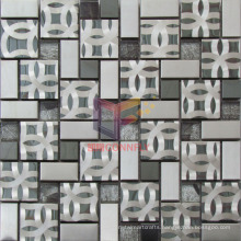 Stainless Steel with Pattern Mix Crystal Mosaic Tile (CFM919)